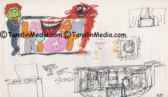 Concept Drawing of Gary Gnu and Goriddle Gorilla- Signed By Ray Favata - Donated by Jim Martin